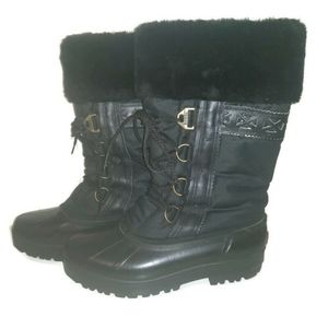 Sorel womens black lace up fur trim winter boots